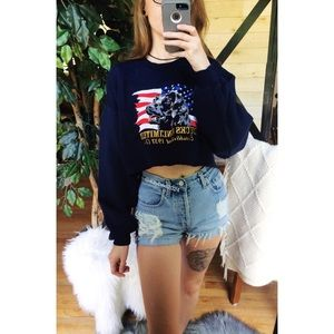 🌿 Vtg 90's • Embroidered Cropped Pullover 🌿